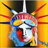 "Peter Max ""Liberty Head"" acrylic on silkscreen"