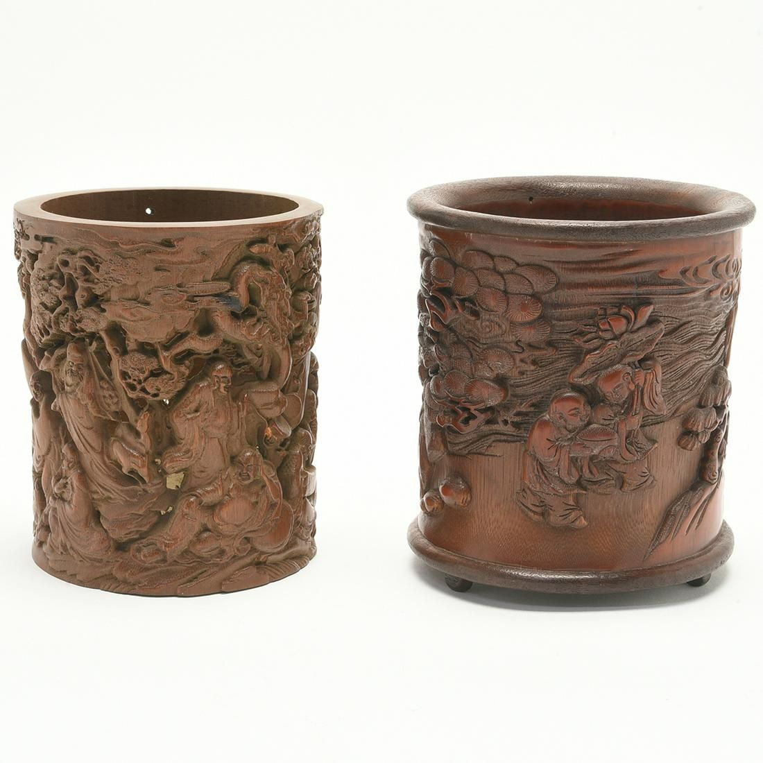 Two Chinese Carved Bamboo Brush Pot Holders.