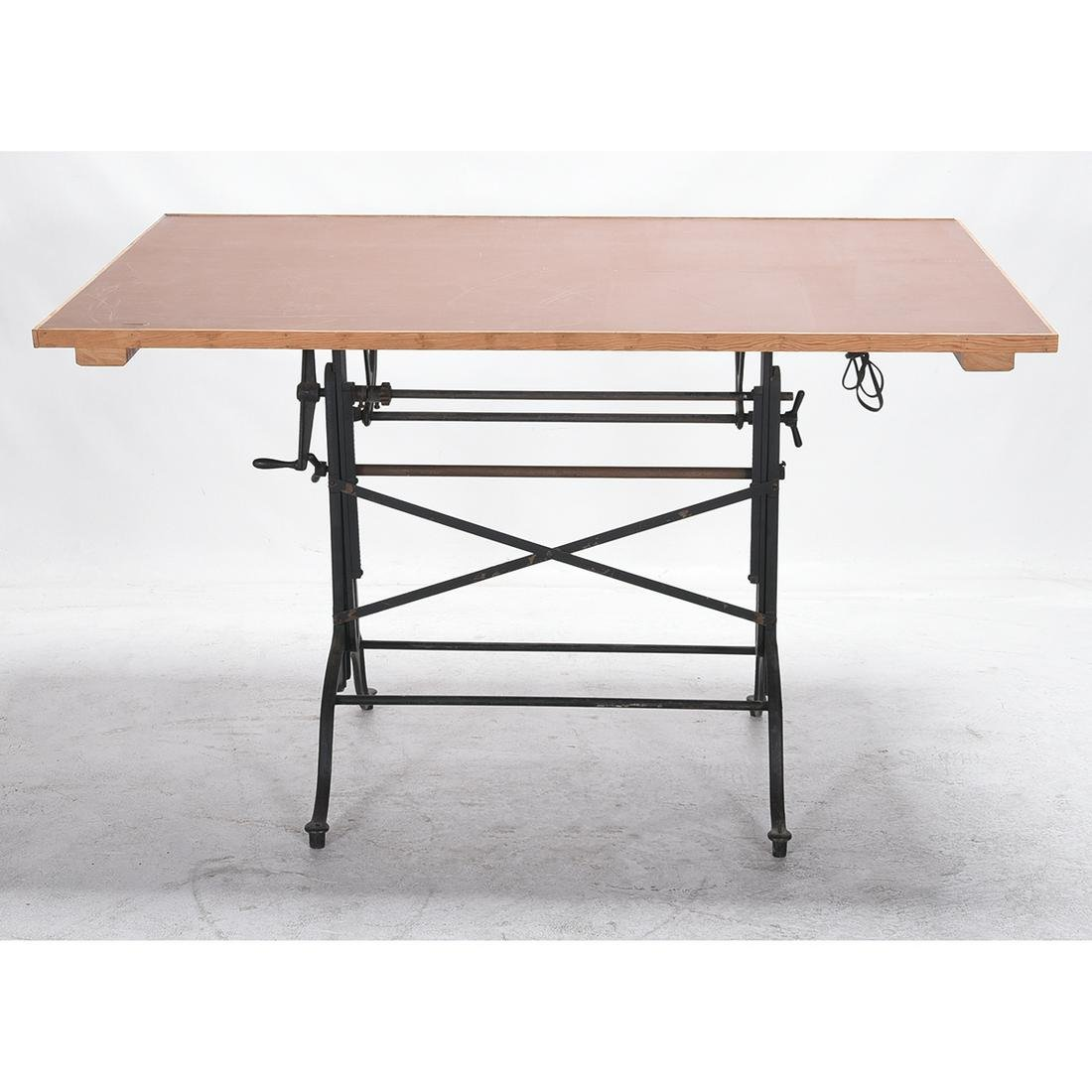 Industrial Chic Engineer's Table with Cast Iron Base