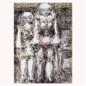 """Malcolm McKesson """"Two Figures"""" ink and crayon on paper"""