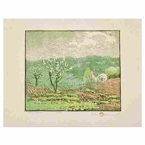 """Gustave Baumann """"Cherry Blossom"""" woodcut in colors"""