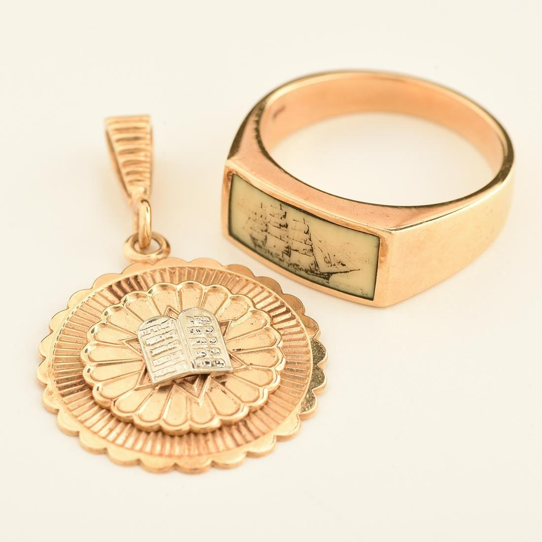 Collection of Two 14k Yellow Gold Jewelry Items.