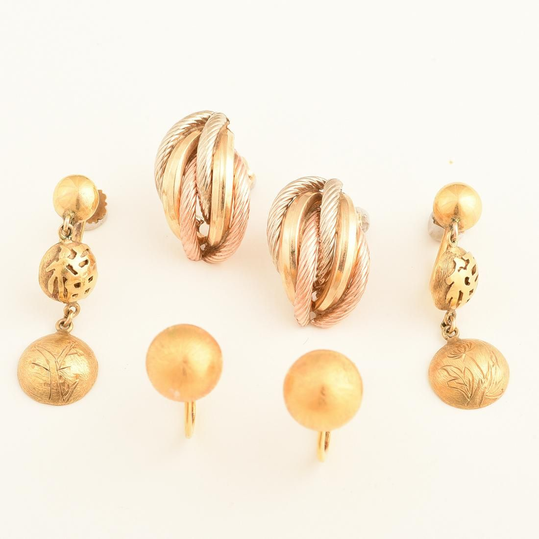 Collection of Three Pairs of 14k Gold Earrings.
