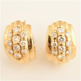 Pair of Diamond, 18k Yellow Gold Earrings.