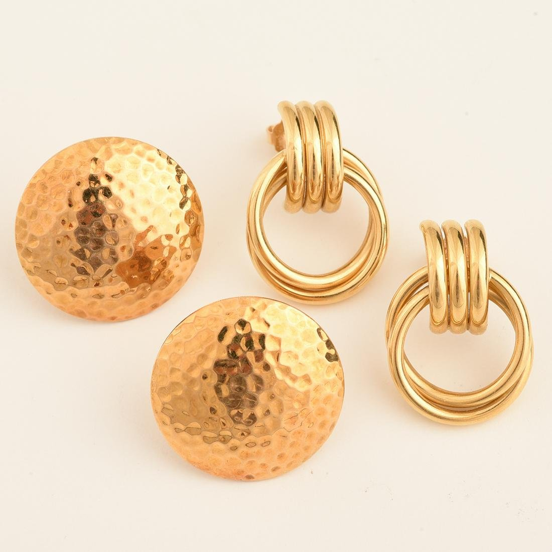 Collection of Two Pairs of 18k Yellow Gold Earrings.
