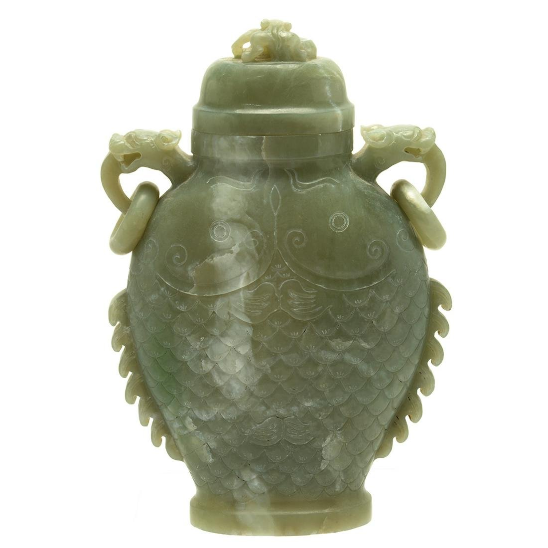 Large Chinese Carved Jade Fish Form Vase with Cover