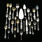 Collection of Sterling Silver Souvenir Spoons and Other