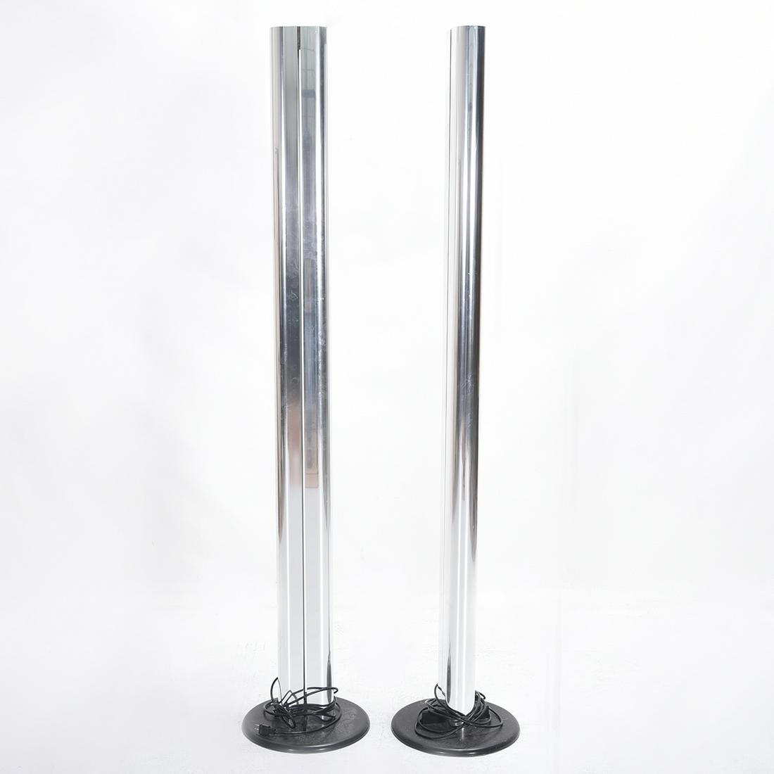 Pair of Modernist Polished Chrome Floor Lamps.