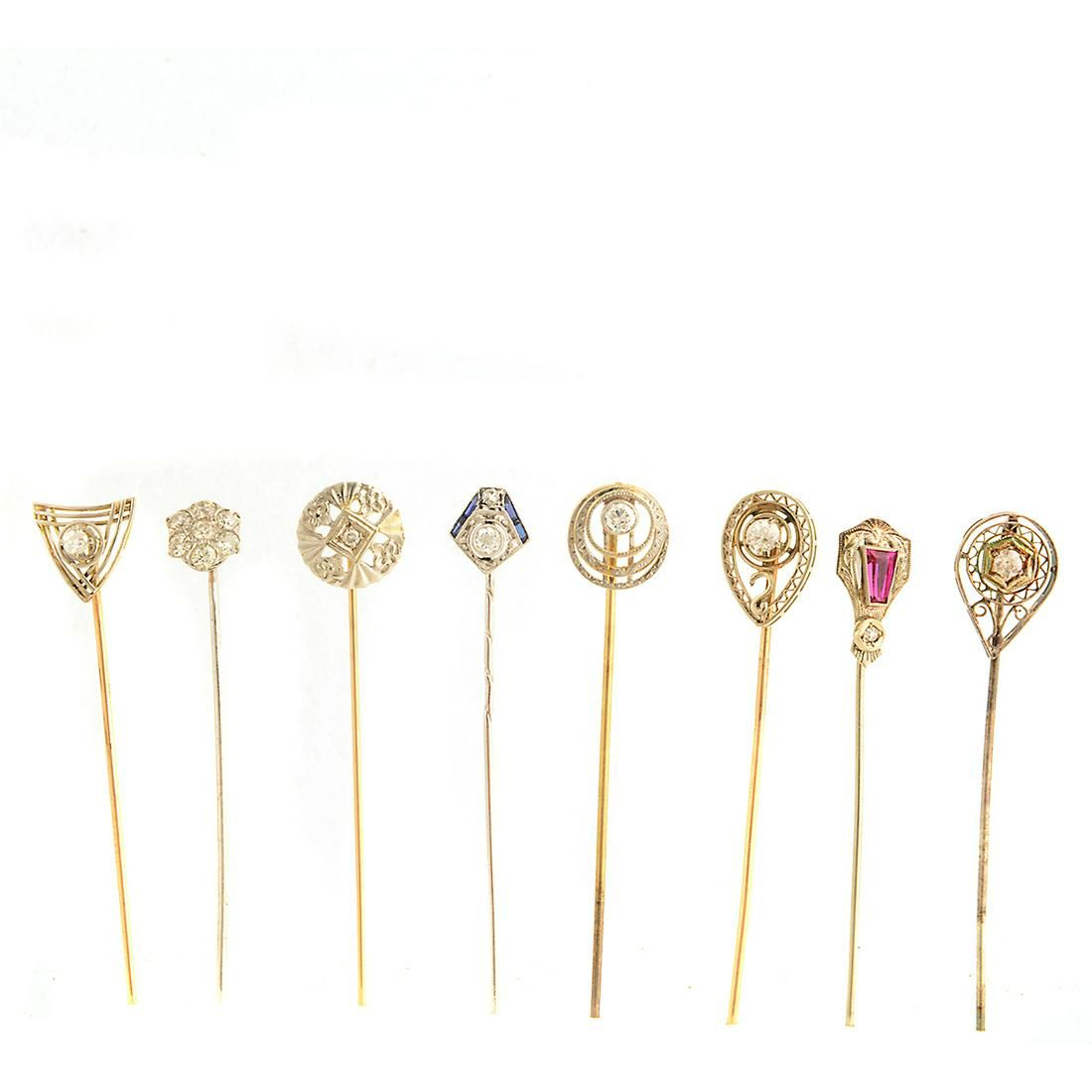 Collection of Eight Diamond, Synthetic Ruby, Synthetic