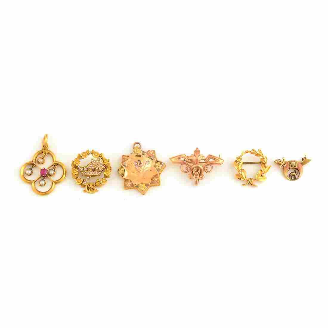 Collection of Six Seed Pearl, Diamond, Enamel, 14k