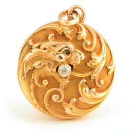 Art Nouveau Diamond, Emerald, 14k Yellow Gold Dragon