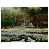 "Thomas Dedecker ""Native Encampment"" oil on panel"