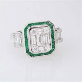 Diamond, Emerald, 18k White Gold Ring.