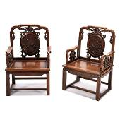 Pair of Chinese Carved Rosewood Armchairs*
