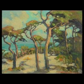 """Mary DeNeal Morgan """"Cypress Trees at the Carmel Coast"""""""