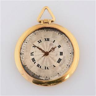 """Cartier 18k Yellow Gold """"Couteau"""" Pocket Watch."""