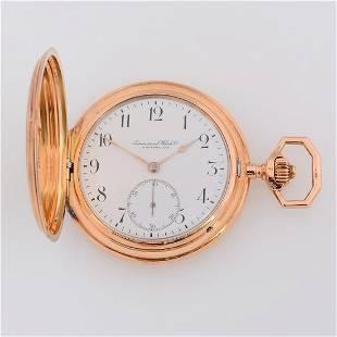 International Watch Co. 14k Pink Gold Pocket Watch.