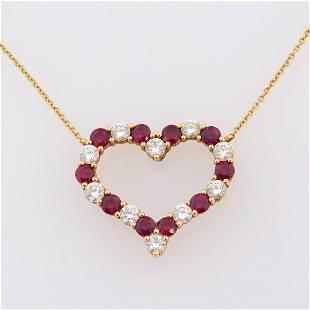 Tiffany & Co. Diamond, Ruby, 18k Yellow Gold Open Heart