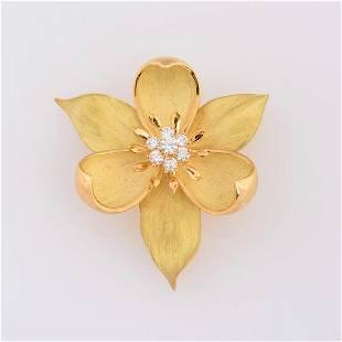 Tiffany & Co. Diamond, 18k Yellow Gold Orchid Brooch.