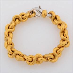 24k Yellow Gold, Platinum Bracelet.
