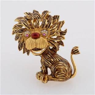 Enamel, Ruby, Diamond, 18k Yellow Gold Lion Brooch.