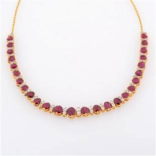Ruby, Diamond, 18k Yellow Gold Necklace.