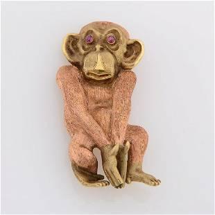 Retro Ruby, 14k Gold Monkey Brooch.