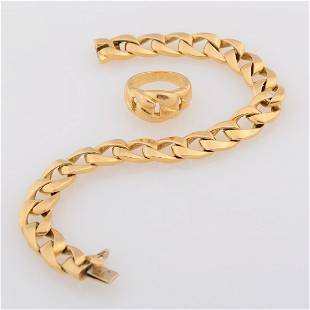 """Cartier """"Bergame"""" 18k Yellow Gold Jewelry Suite."""