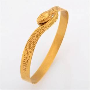 Art Nouveau 18k Yellow Gold Serpent Bracelet.