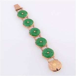 Natural 'A' Jadeite Jade, 14k Rose Gold Bracelet.