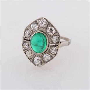 Art Deco Emerald, Diamond, Platinum Ring.