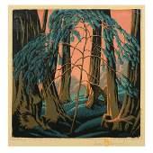 "Gustave Baumann ""Redwood"" color woodcut"
