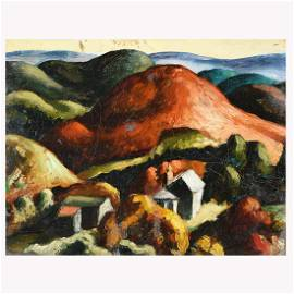 "Thomas Hart Benton ""Untitled landscape"" oil on canvas"
