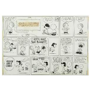 Charles Schulz 'Peanuts Sunday 1959 Comic' ink over