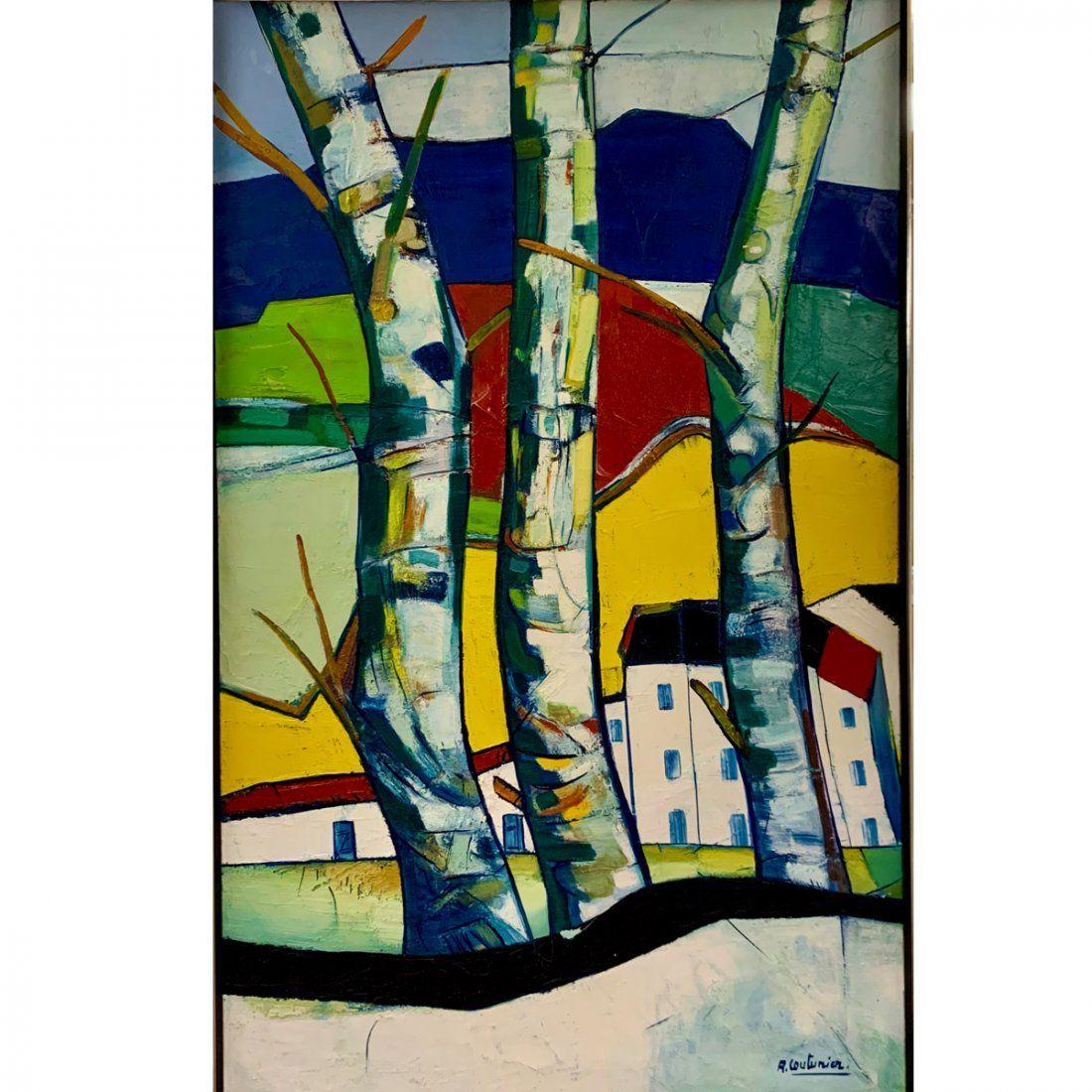 "Rene Couturier ""Paysage les Abres"" oil on canvas"
