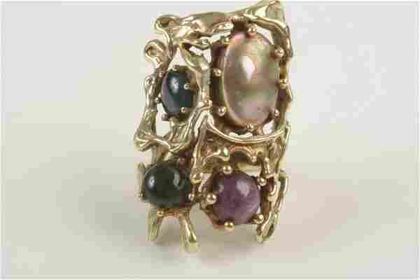 Multi-Stone, 14k Yellow Gold Ring.