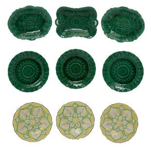 Eighteen 19th Century Wedgwood Majolica Plates.