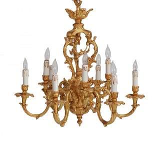 Rococo Style Nine Light Gilt Bronze Chandelier.