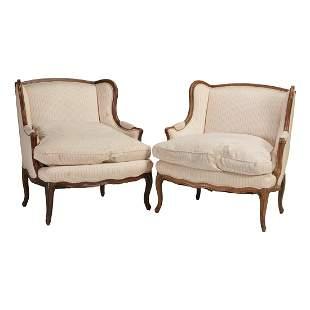 Pair of Louis XV Style Bergère Aux Oreilles.