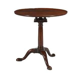 George II Style Round Mahogany Tilt-Top Tea Table.