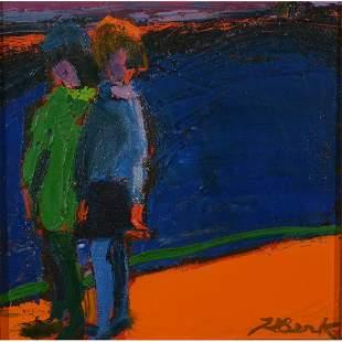 """Henrietta Berk """"Girls"""" oil on canvas"""