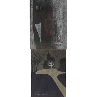 "Kiyoshi Saito ""Tenderness"" and ""Chapel, France"" woodcut"