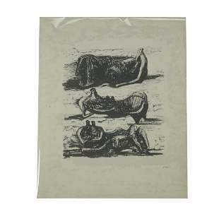 """Henry Moore """"Three Reclining Figures"""" color lithograph"""