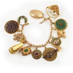 Multi-Stone, Enamel, 14k Yellow Gold, Gold-Filled,