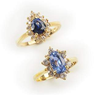 Collection of Two Sapphire, Diamond, 14k Yellow Gold
