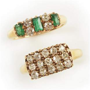 Collection of Two Diamond, Emerald, 18k Yellow Gold