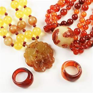 Collection of Two Asian Carnelian, Jade, Citrine