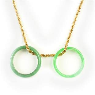 Jade, 14k Yellow Gold Necklace.