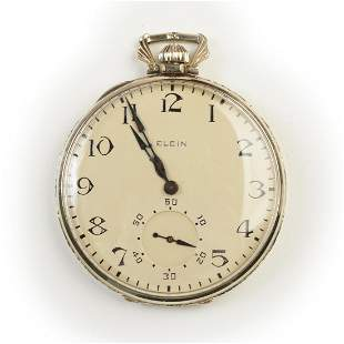 Elgin 14k White Gold Pocket Watch.