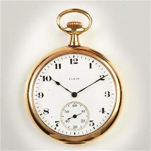 Elgin 14k Pink Gold Pocket Watch.